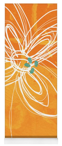 White Flower On Orange Yoga Mat