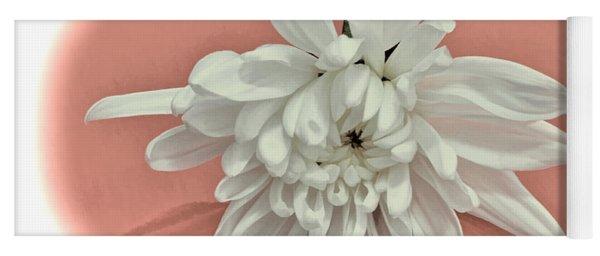 White Flower On Pale Coral Vignette Yoga Mat