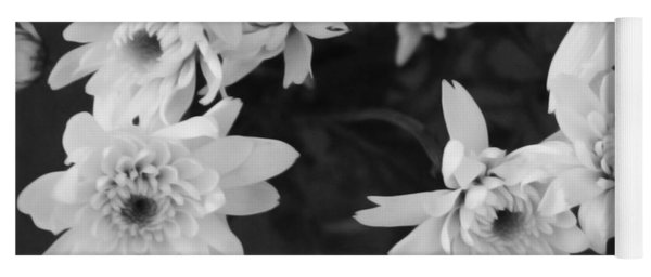 White Flowers- Black And White Photography Yoga Mat