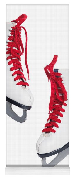 White Ice Skates With Red Laces Yoga Mat