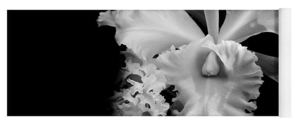 White Orchid. Black And White Yoga Mat