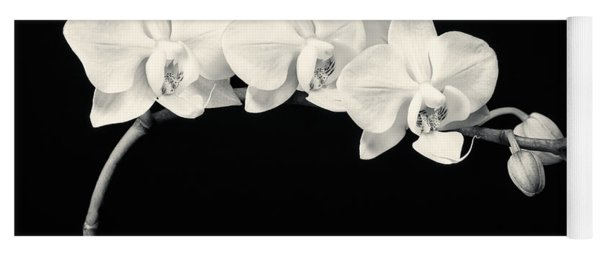 White Orchids Monochrome Yoga Mat