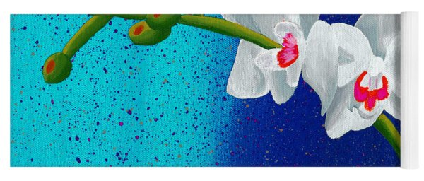 White Orchids On Blue Yoga Mat