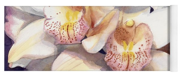 White Orchids Watercolor Yoga Mat