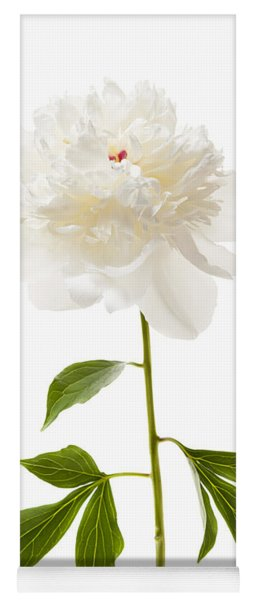White Peony Flower On White Yoga Mat