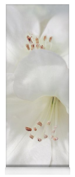 White Rhododendron Flowers Yoga Mat