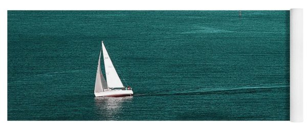 White Sailboat Yoga Mat