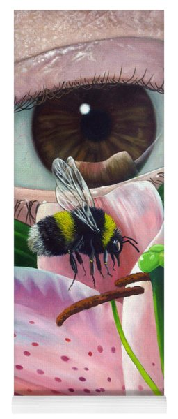 White Tailed Bumble Bee Upon Lily Flower Yoga Mat