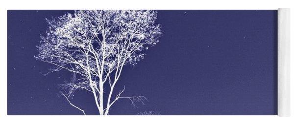White Tree - Blue Sky - Silver Stars Yoga Mat