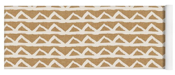 White Triangles On Burlap Yoga Mat