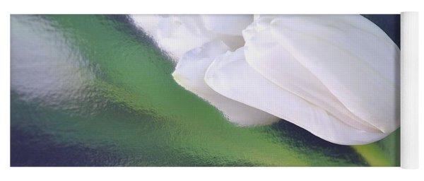 White Tulip Reflected In Dark Blue Water Yoga Mat