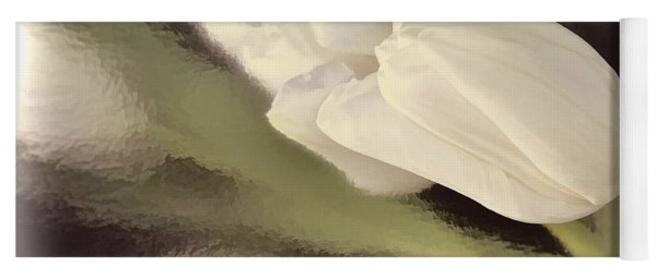 White Tulip Reflected In Misty Water Yoga Mat