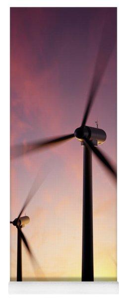 Wind Turbine Blades Spinning At Sunset Yoga Mat