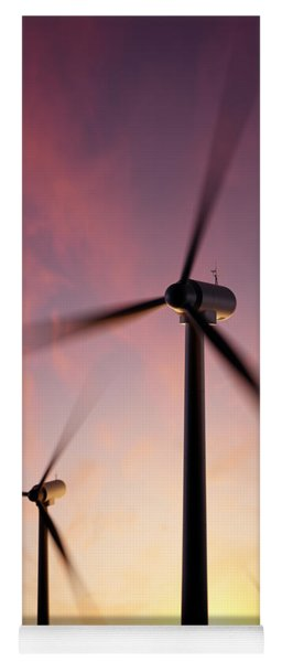 Wind Turbine Blades Spinning At Sunset Yoga Mat