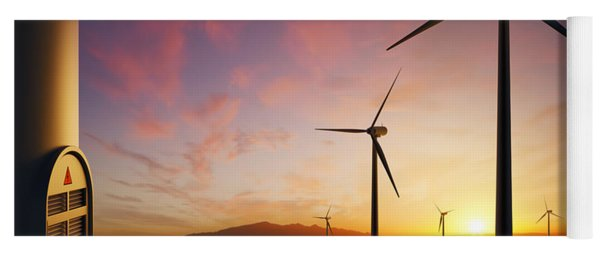 Wind Turbines At Sunset Yoga Mat