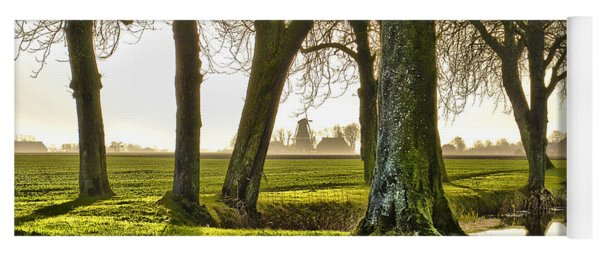 Windmill And Trees In Groningen Yoga Mat