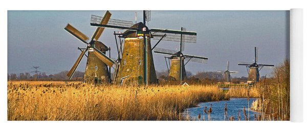 Windmills And Reeds Near Kinderdijk Yoga Mat