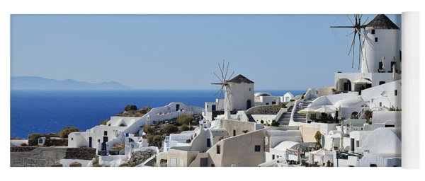 Windmills And White Houses In Oia Yoga Mat