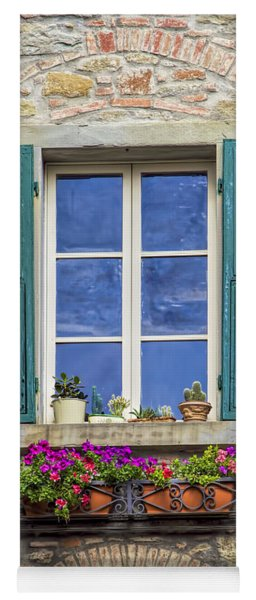 Window Of Tuscany With Green Wood Shutters Yoga Mat