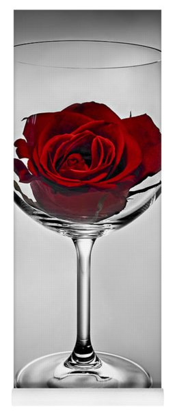 Wine Glass With Rose Yoga Mat