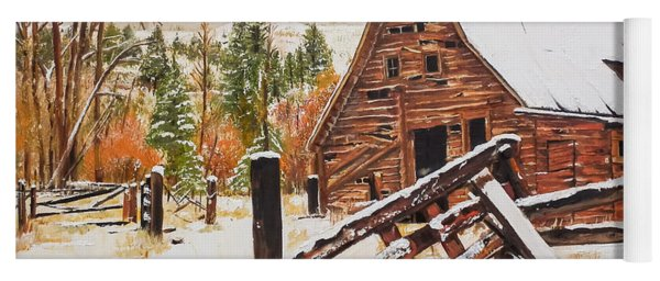 Yoga Mat featuring the painting Winter - Barn - Snow In Nevada by Jan Dappen