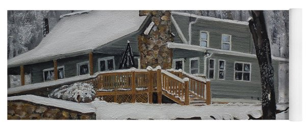 Yoga Mat featuring the painting Winter - Cabin - In The Woods by Jan Dappen