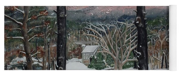 Yoga Mat featuring the painting Winter - Cabin - Pink Knob by Jan Dappen