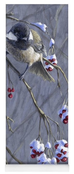 Winter Harvest 1 Chickadee Painting Yoga Mat