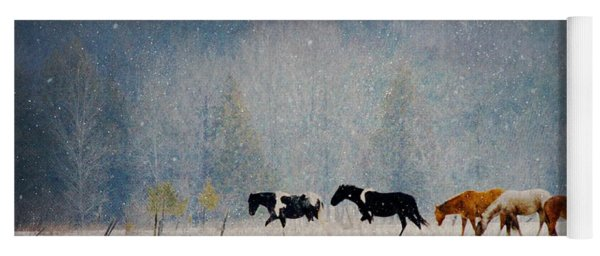 Winter Horses Yoga Mat