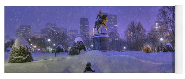 Winter In Boston - George Washington Monument - Boston Public Garden Yoga Mat
