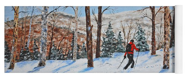 Winter In Vermont Woods Yoga Mat