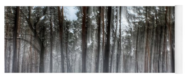 Winter Light In A Forest With Dancing Trees Yoga Mat