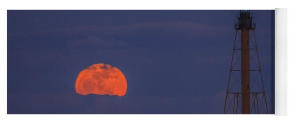 Winter Moon Rising Over Marblehead Light Yoga Mat