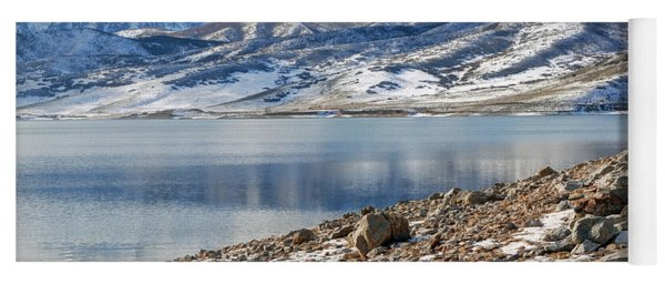 Winter Mt. Timpanogos And Deer Creek Reservoir Yoga Mat