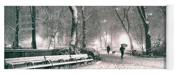 Winter Night - New York City - Madison Square Park Yoga Mat