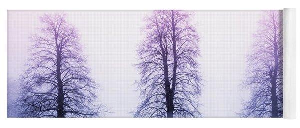 Winter Trees In Fog At Sunrise Yoga Mat