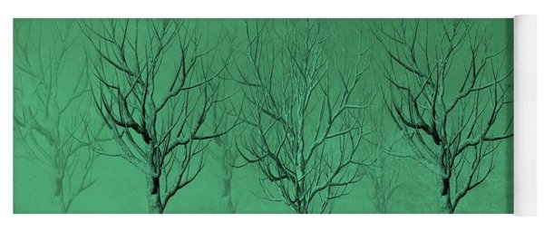 Yoga Mat featuring the digital art Winter Trees In The Mist by David Dehner