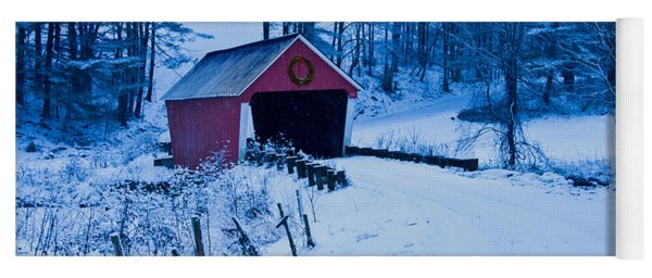 winter Vermont covered bridge Yoga Mat