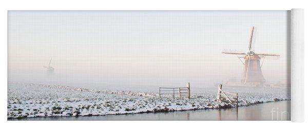 Winter Windmill Landscape In Holland Yoga Mat
