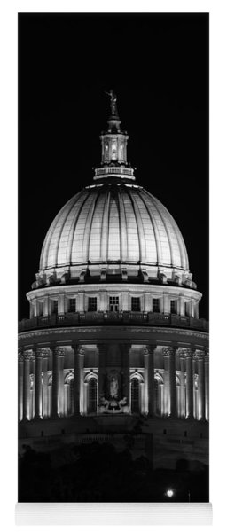 Wisconsin State Capitol Building At Night Black And White Yoga Mat