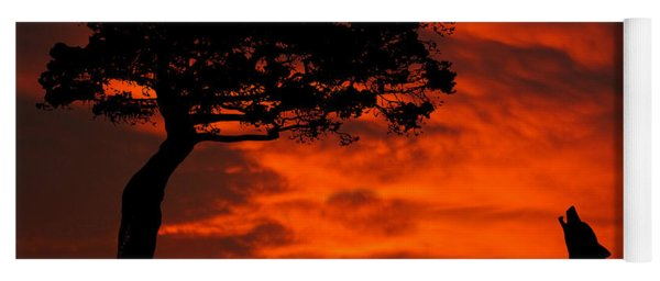 Yoga Mat featuring the photograph Wolf Calling For Mate Sunset Silhouette Series by David Dehner