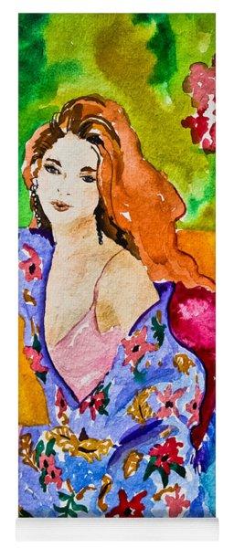 Woman In Silk Kimono Yoga Mat