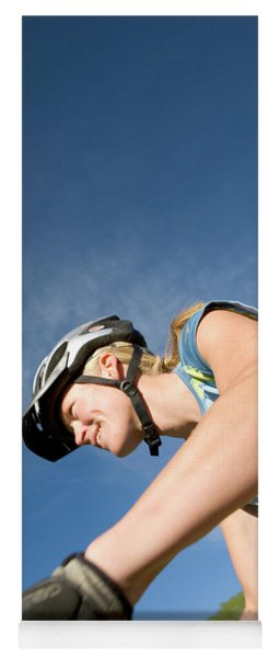 Woman Riding Mountain Bike, Colorado Yoga Mat
