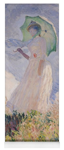 Woman With Parasol Turned To The Left Yoga Mat