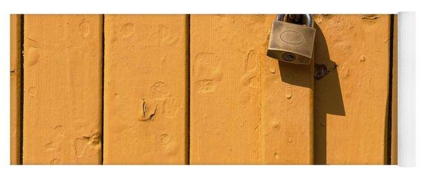 Wooden Plank Door Steel Lock Yoga Mat