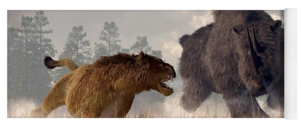 Yoga Mat featuring the digital art Woolly Rhino And Cave Lion by Daniel Eskridge