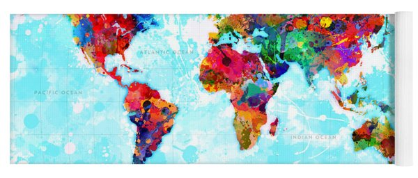 World Map Spattered Paint Yoga Mat