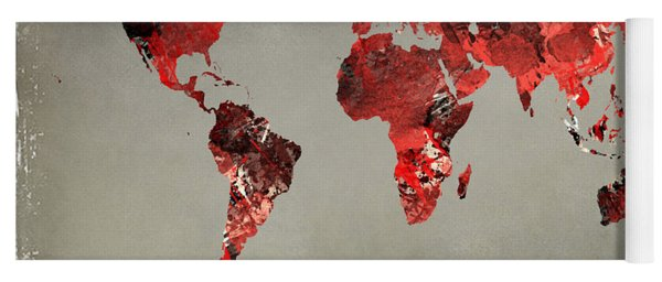 World Map - Watercolor Red-black-gray Yoga Mat