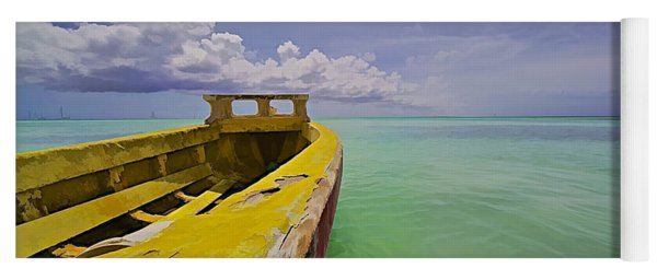 Worn Yellow Fishing Boat Of Aruba II Yoga Mat
