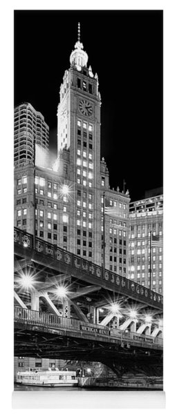 Wrigley Building At Night In Black And White Yoga Mat